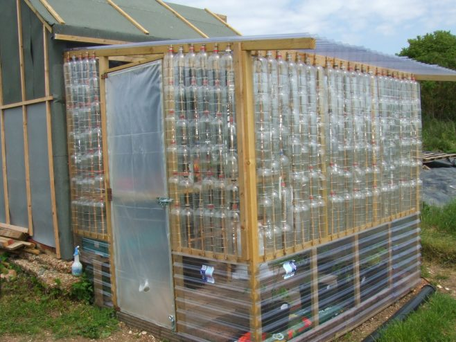 A greenhouse on Lower Roedale Site - made of fizzy pop bottles! | Melanie Matthews