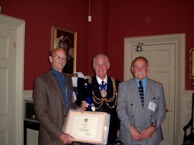 Peter Richards(recepient) , David Smith (Mayor), John Burns (BHAF chairman) | stella (council)
